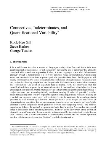 Connectives, Indeterminates, and Quantificational ... - CSSP - CNRS