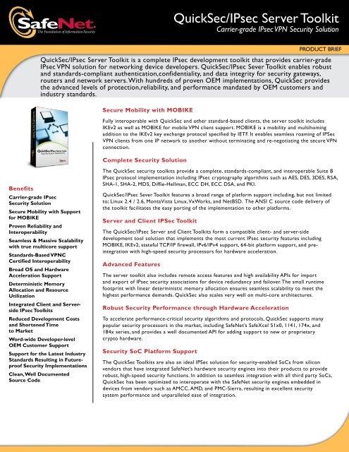 QuickSec/ipsec Server toolkit - SafeNet