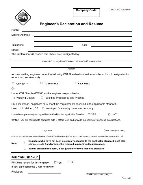 Form 159 Engineer S Declaration And Resume Cwb Group