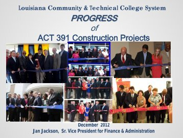 Act 391 Project Status: December 2012 - Louisiana Community and ...