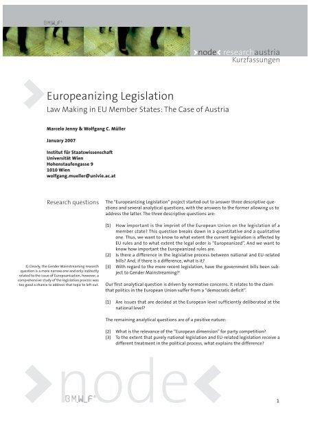 Europeanizing Legislation – Law Making in EU Member States - node