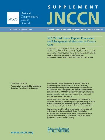 Prevention and Management of Mucositis in Cancer Care - National ...