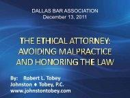 ATTORNEY GRIEVANCE / MALPRACTICE - Dallas Bar Association