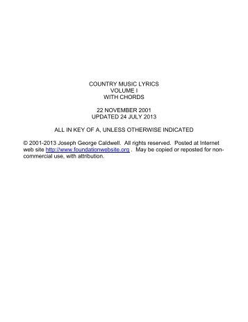 Country Music Lyrics Volume 1 with Chords - Foundationwebsite.org