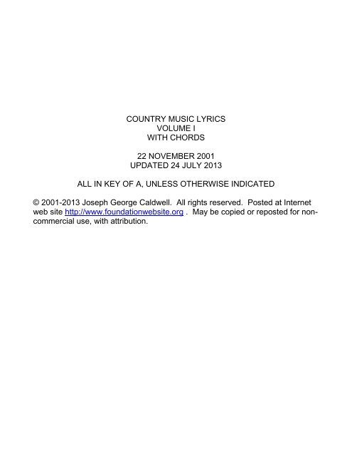 Country Music Lyrics Volume 1 With Chords Foundationwebsite Org