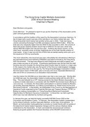 Chairman's Report - The Hong Kong Capital Markets Association