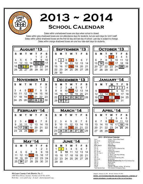 Unt 2022 Calendar.School Calendar 2013 2014 Unit 5
