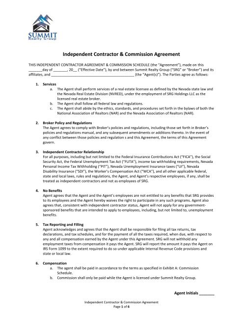 Nevada Ica Commission Agreement Summit Realty Group