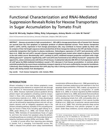 Functional Characterization and RNAi-Mediated ... - Molecular Plant