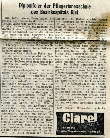 1959 BielerTagblatt Diplomfeier Kurs 8