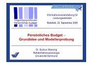 Persönliches Budget – Grundidee und Modellerprobung
