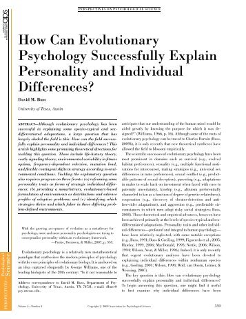 evolution personality and individual differences 2009