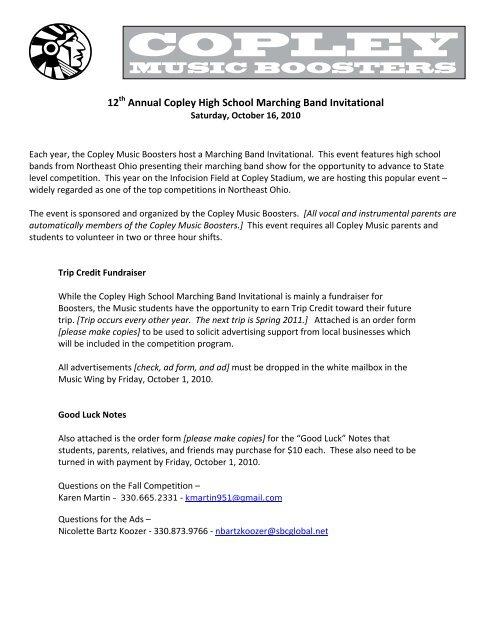 12 Annual Copley High School Marching Band Invitational