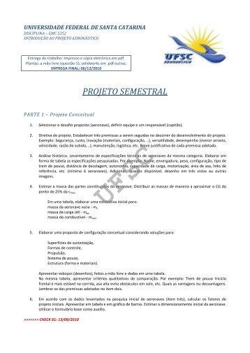 Projeto Semestral - UFSC Aerodesign - Universidade Federal de ...