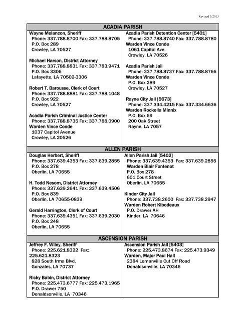 Local Facilities Contact List - Louisiana Department of