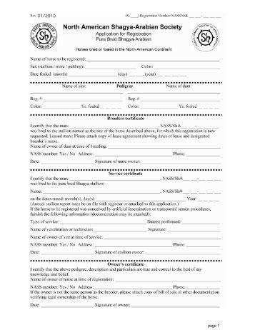 Application for Purebred Shagya-Arabian Registration