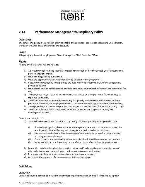 213 Performance Managementdisciplinary Policy Robe