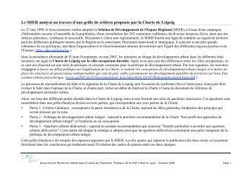 Le SDER analysé au travers d'une grille de critères ... - CPDT Wallonie