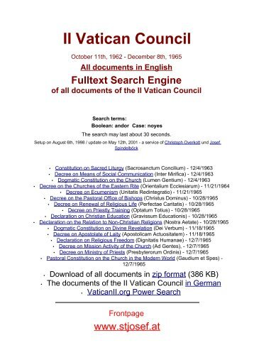 II Vatican Council - Christian Issues