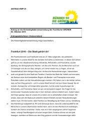 Entwurf des Wahlprogramms der Frankfurter Grünen für die