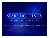 View presentation deck - Sears Holdings Corporation