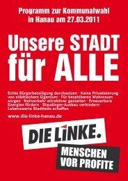 Kommunalwahlprogramm 2011 - DIE LINKE. Hanau