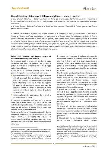 Riqualificazione dei rapporti di lavoro negli accertamenti ispettivi