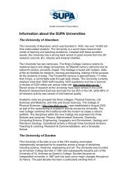 Information about the SUPA universities and departments
