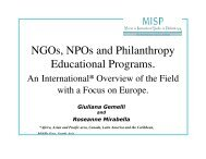 NGOs, NPOs and Philanthropy Educational Programs. - PHaSI ...