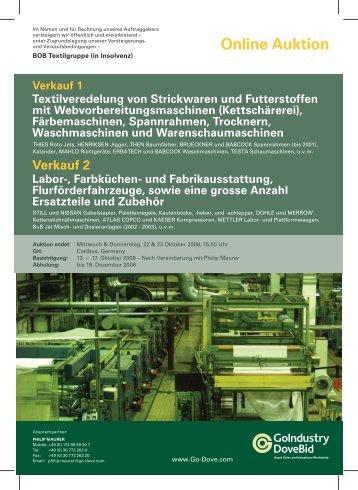 Online Auktion Verkauf 1 Textilveredelung von Strickwaren und ...