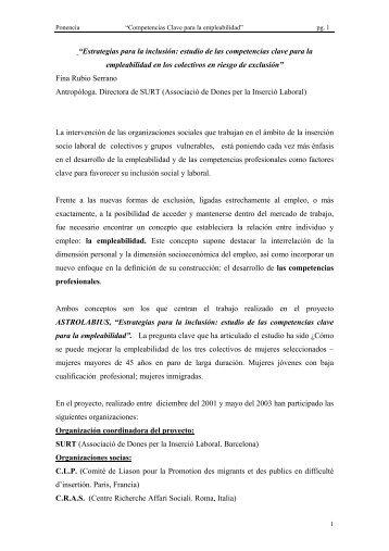 Estrategias para la inclusión: estudio de las competencias ... - Surt