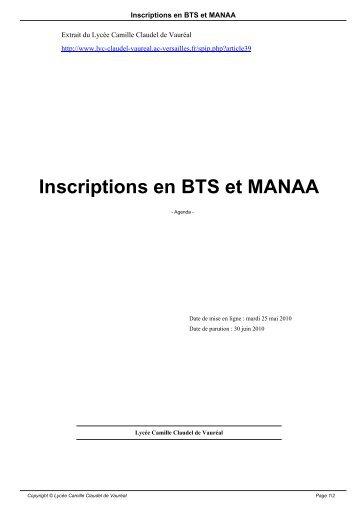 Inscriptions en BTS et MANAA - Lycée Camille Claudel de Vauréal
