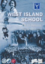 The Pre 16 Options guide 2012 - West Island School