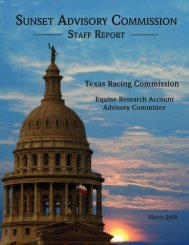 Sunset Staff Report - Texas Racing Commission