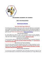 Fall 2013 Newsletter - Oklahoma Biological Survey