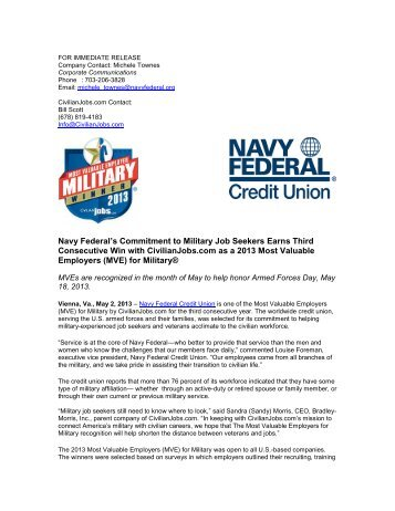 Navy Federal's Commitment to Military Job Seekers Earns Third ...