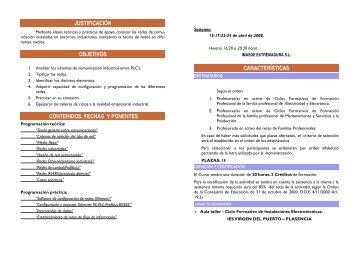 características justificación objetivos contenidos, fechas y ponentes