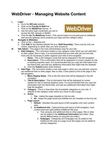 WebDriver - Managing Website Content