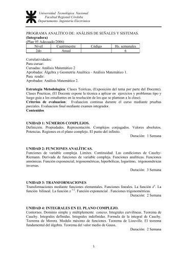 programa analítico de: análisis de señales y sistemas - Universidad ...