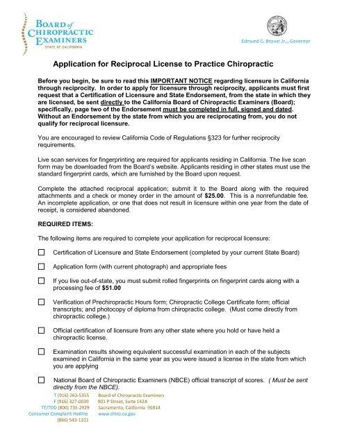 Reciprocal License Application - California Board of ...