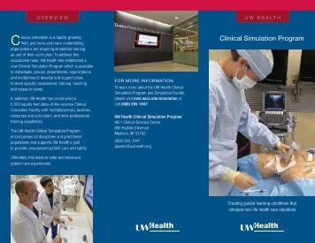 Clinical Simulation Program Brochure (pdf) - University of Wisconsin ...