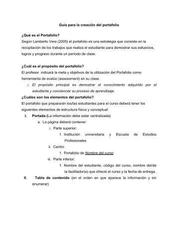Guía para la creación del portafolio ¿Qué es el Portafolio? Según ...