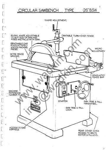 Wadkin DP Double End Tenoner Manual and Parts List