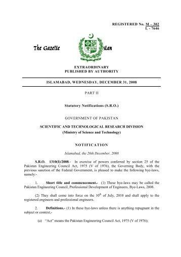 The Gazette The Gazette of Pakistan of Pakistan