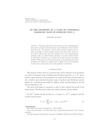 ON THE GEOMETRY OF A CLASS OF CONFORMAL ... - INMABB