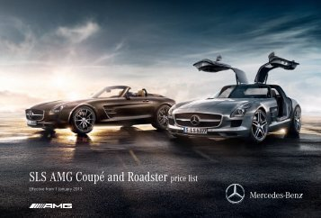 SLS AMG Coupé and Roadster price list - Mercedes-Benz