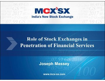 Role of Stock Exchanges in Penetration of Financial Services