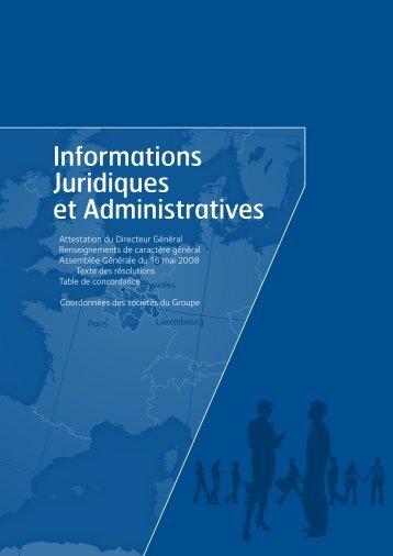 Informations Juridiques et Administratives - Crédit Mutuel