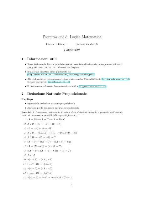 Esercitazione Di Logica Matematica Stefano Zacchiroli