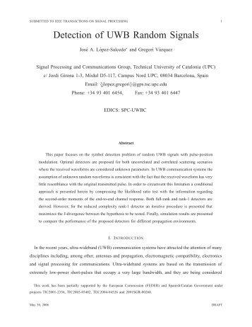 Detection of UWB Random Signals - Signal Processing Group - UPC